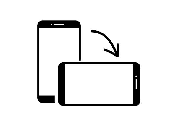 rotating phone from vertical to horizontal position. phone vector icon - przekręcać stock illustrations