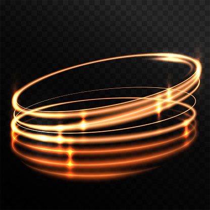 Rotating shining rings, ellipses. Golden light effect. Swirling glowing lines. Dynamic neon circles