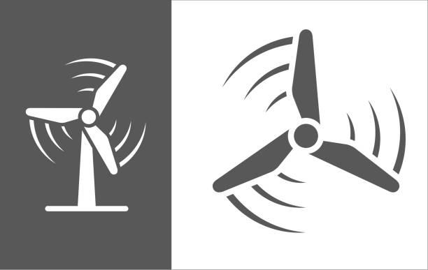 stockillustraties, clipart, cartoons en iconen met pictogram van de molen draaiende wind - windmolen