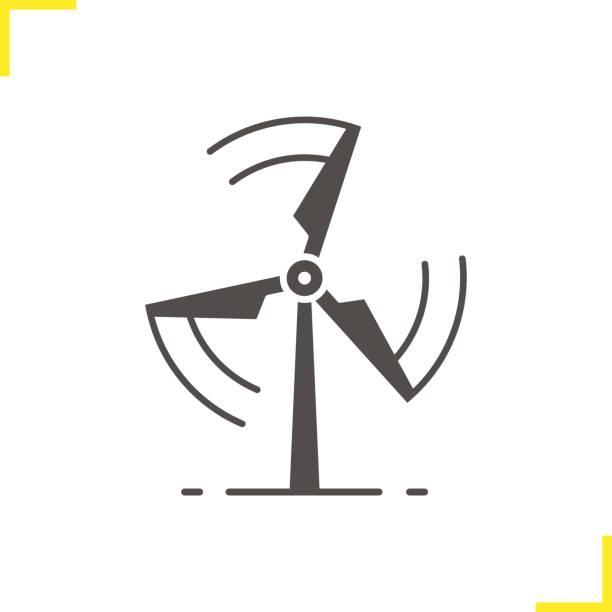 dönen rüzgar değirmeni simgesi - rüzgar değirmeni stock illustrations
