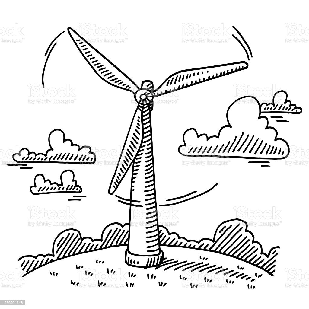 rotating wind turbine drawing stock vector art  u0026 more