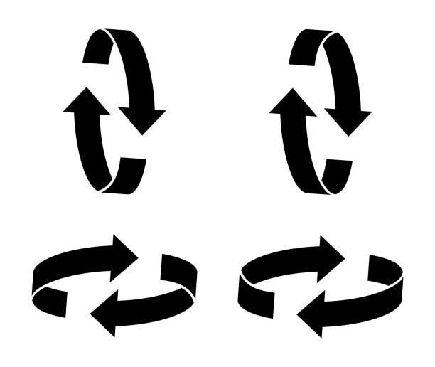 rotation arrows icon vector illustration - przekręcać stock illustrations