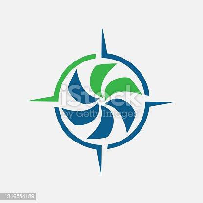 istock rotation of water wind spinning turbine logo design vector illustrations 1316554189
