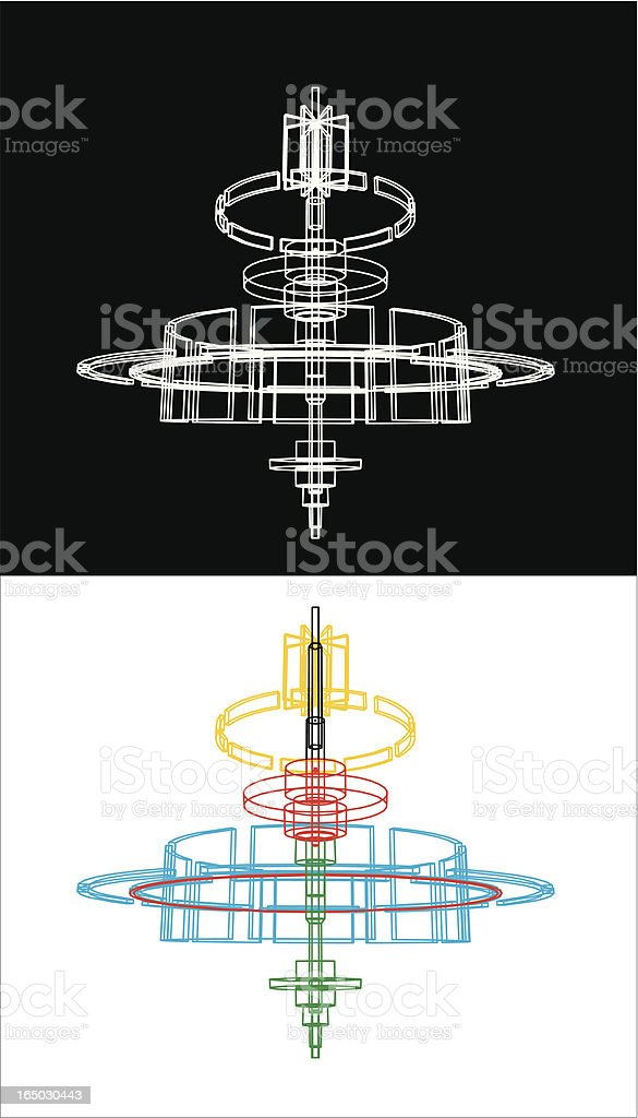 rotor - technical drawing royalty-free stock vector art