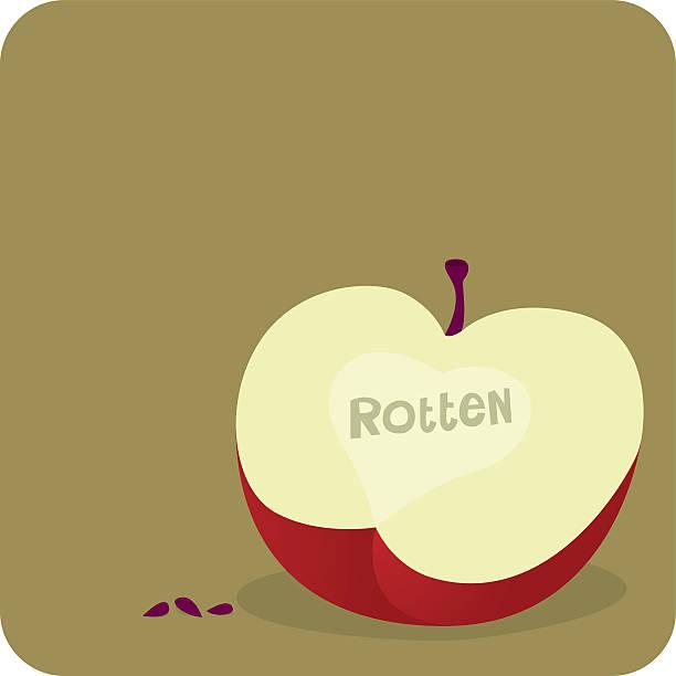 rotten apple - rotten apple stock illustrations, clip art, cartoons, & icons