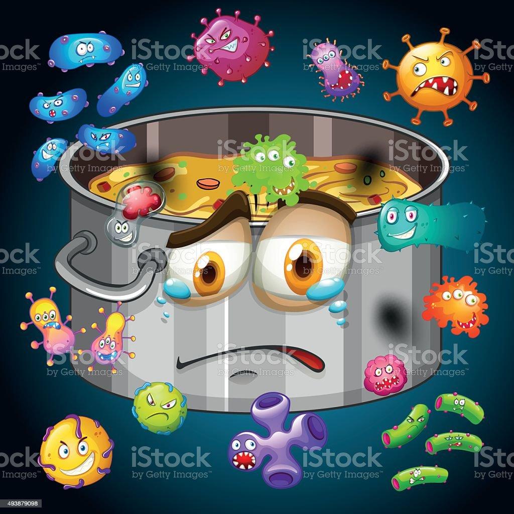 Rotten food  pot  bacteria vector art illustration
