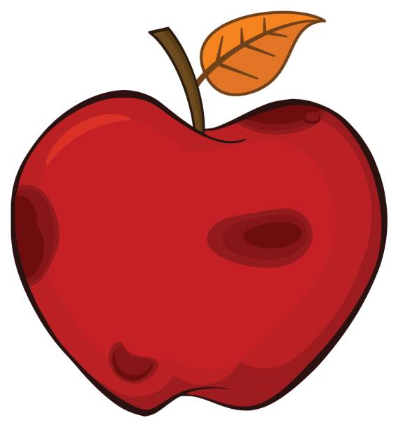 rotten red apple fruit with leaf cartoon drawing simple design - rotten apple stock illustrations, clip art, cartoons, & icons