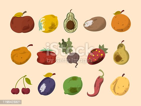 Rotten vegetable and fruit vector isolated. Food waste collection. Dirty, bad and unhealthy fruits. Food trash.