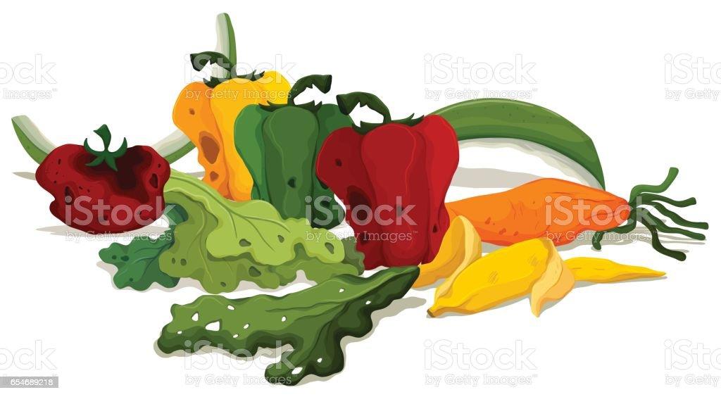 Vegetais podres no chão - ilustração de arte em vetor