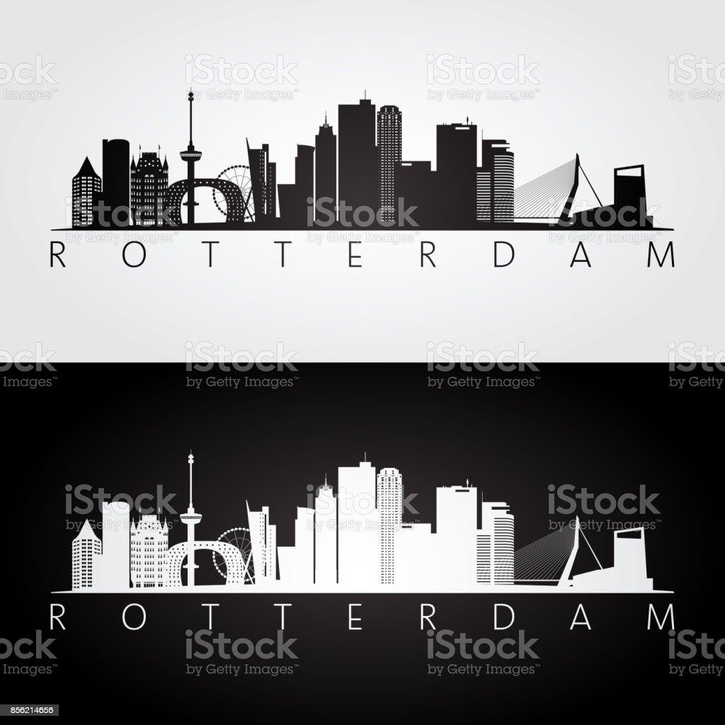 Rotterdam skyline en bezienswaardigheden silhouet, zwart / wit ontwerp, vectorillustratie.vectorkunst illustratie