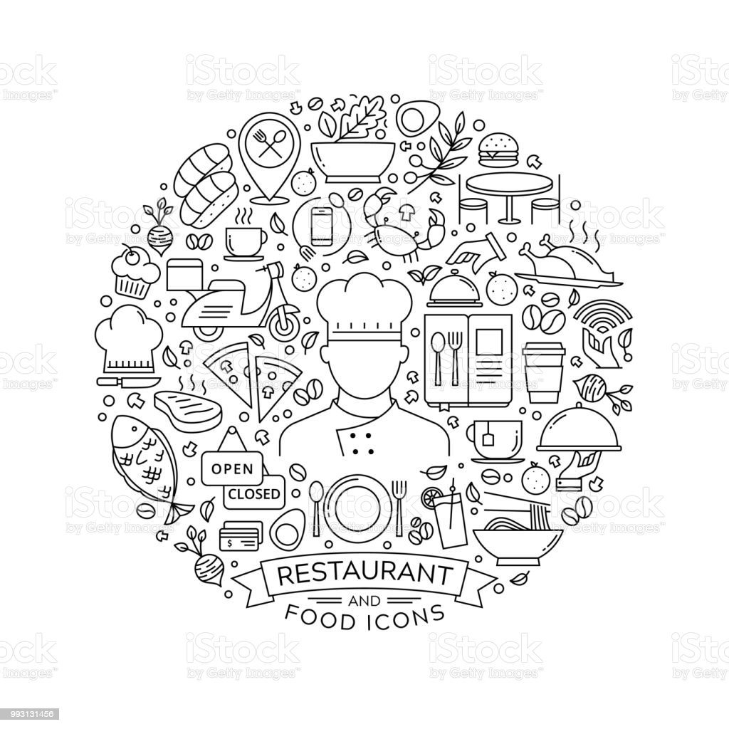 Roud design element with restaurant icons
