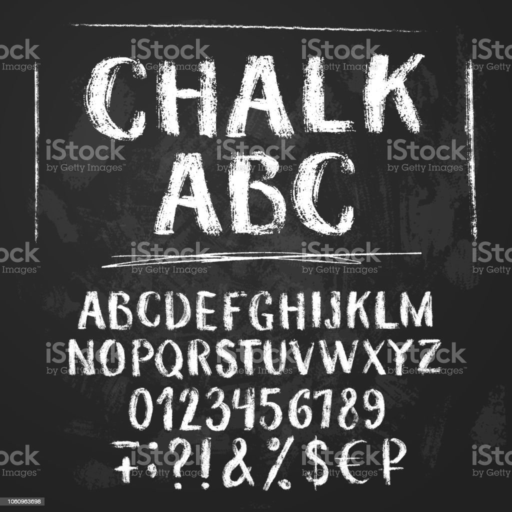 Rough chalk latin alphabet royalty-free rough chalk latin alphabet stock illustration - download image now