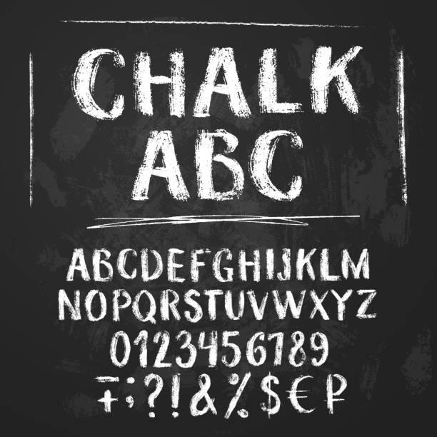 rough chalk latin alphabet - классная доска stock illustrations