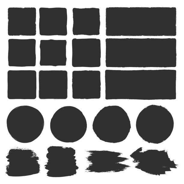 Rough edge box. Hand drawn brush background Rough edge box. Hand drawn brush background square composition stock illustrations