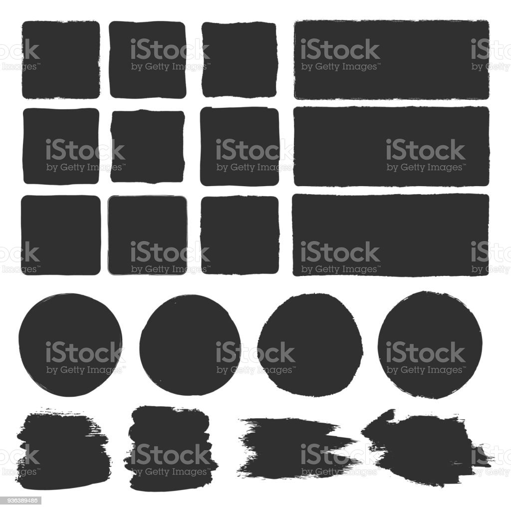 Rough edge box. Hand drawn brush background vector art illustration