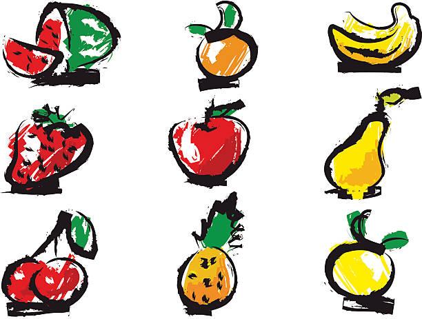 Rough Fruits Set vector art illustration