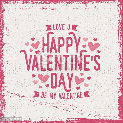Rough Happy Valentine's Day greeting card - white background