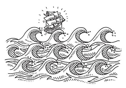 Rough Sea Waves Cartoon Sailing Ship Drawing