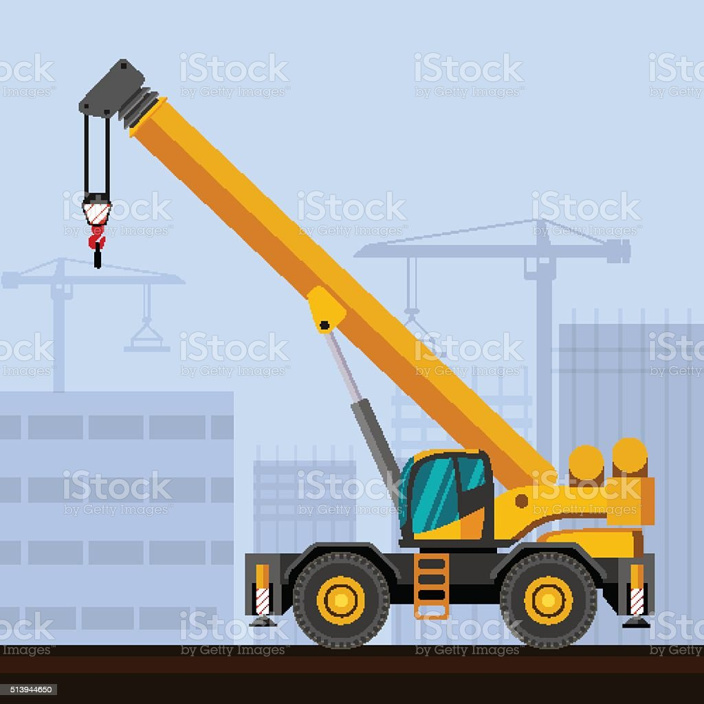 Rough terrain crane vector art illustration