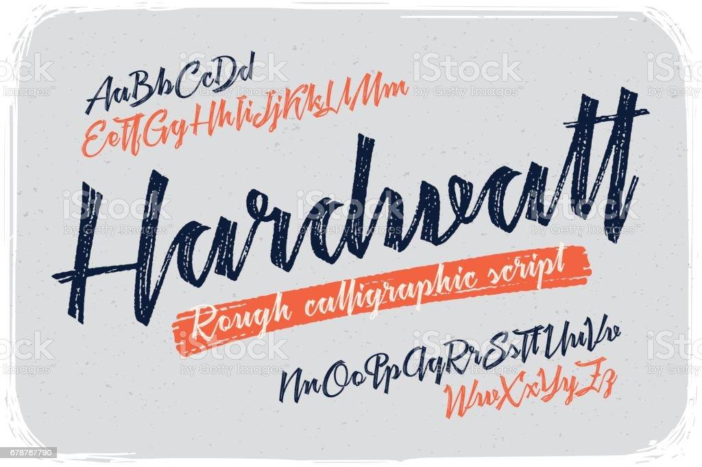 Rough version of calligraphic handwritten font named 'Hardwatt' with connected letters. royalty-free rough version of calligraphic handwritten font named hardwatt with connected letters stok vektör sanatı & alfabe'nin daha fazla görseli
