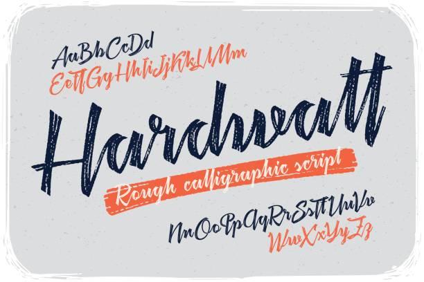 illustrations, cliparts, dessins animés et icônes de une version brute de calligraphie polices manuscrites nommé «hardwatt» avec lettres connecté. - polices ligne fine