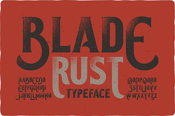 rough vintage typeface on bloody dirty background - steampunk stock-grafiken, -clipart, -cartoons und -symbole