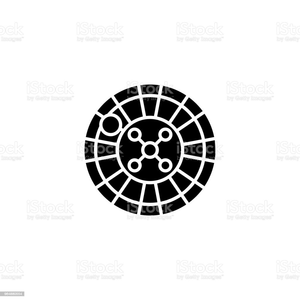 Roulette black icon concept. Roulette flat  vector symbol, sign, illustration. royalty-free roulette black icon concept roulette flat vector symbol sign illustration stock vector art & more images of ace