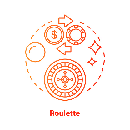 Roulette concept icon. Online gambling idea thin line illustration. Casino, game of chance. Betting, fortune wheel. Vegas entertainment. Vector isolated outline drawing