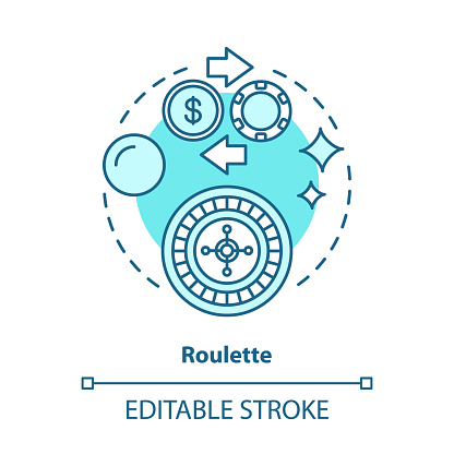 Roulette concept icon. Online gambling idea thin line illustration. Casino, game of chance. Betting, fortune wheel. Vegas entertainment. Vector isolated outline drawing. Editable stroke