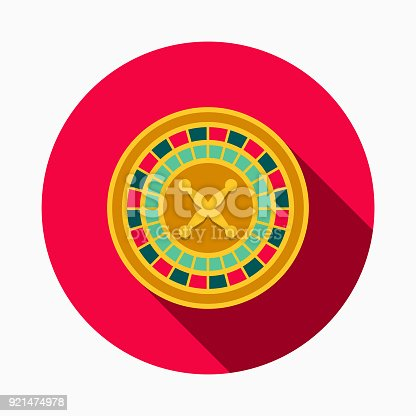 istock Roulette Flat Design Casino Icon with Side Shadow 921474978
