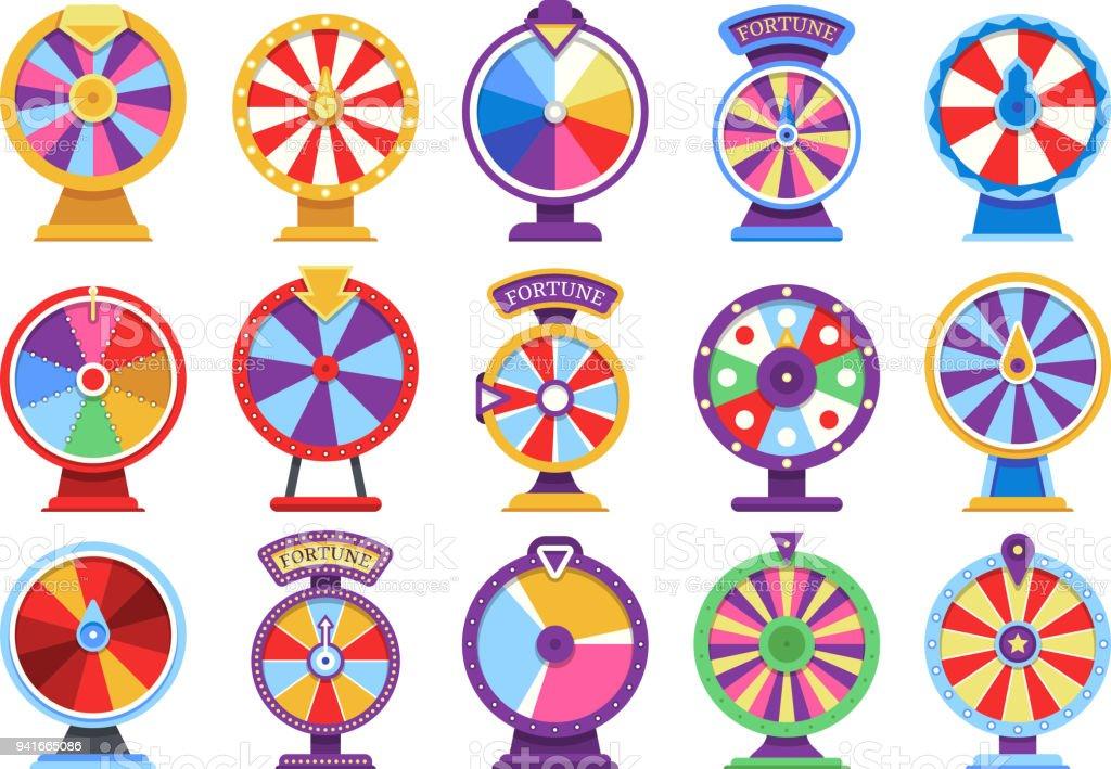 Roulette fortuin draaiende wielen plat pictogrammen geld casinospelen - failliet of gelukkig vectorelementen - Royalty-free Begrippen vectorkunst