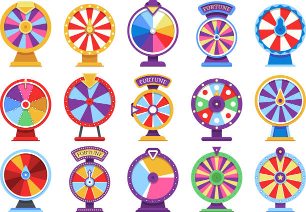 Roulette fortune spinning wheels flat icons casino money games - bankrupt or lucky vector elements Roulette fortune spinning wheels flat icons casino money games - bankrupt or lucky vector elements. Set of fortune, wheel for casino, success game roulette illustration leisure games stock illustrations
