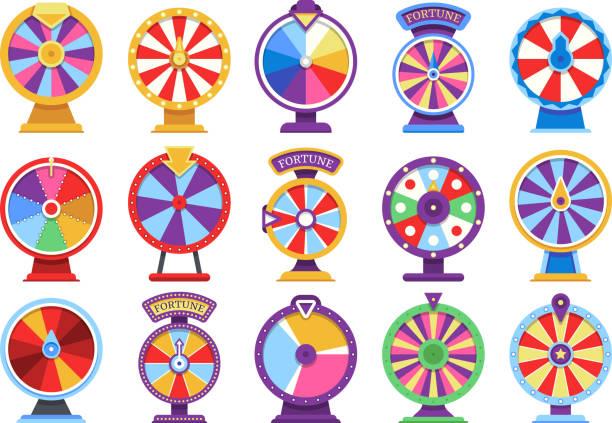 stockillustraties, clipart, cartoons en iconen met roulette fortuin draaiende wielen plat pictogrammen geld casinospelen - failliet of gelukkig vectorelementen - ronddraaien