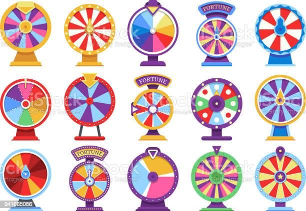 Roulette Fortuin Draaiende Wielen Plat Pictogrammen Geld Casinospelen Failliet Of Gelukkig Vectorelementen Stockvectorkunst en meer beelden van Begrippen