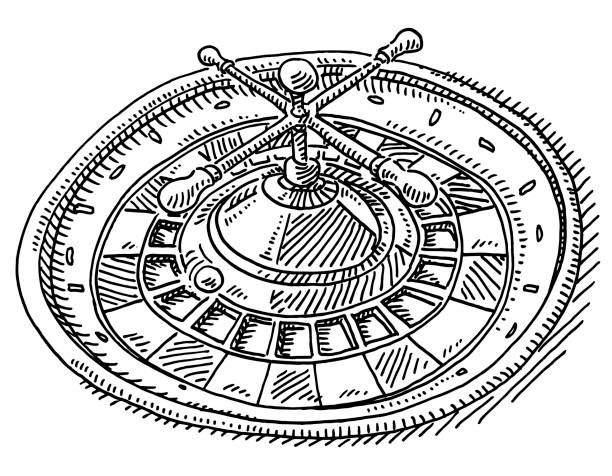 Roulette Wheel Drawing Hand-drawn vector drawing of a Roulette Wheel. Black-and-White sketch on a transparent background (.eps-file). Included files are EPS (v10) and Hi-Res JPG. game stock illustrations