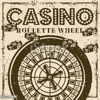 istock Roulette wheel vintage poster or banner for casino with grunge textures and scratches 1271700682