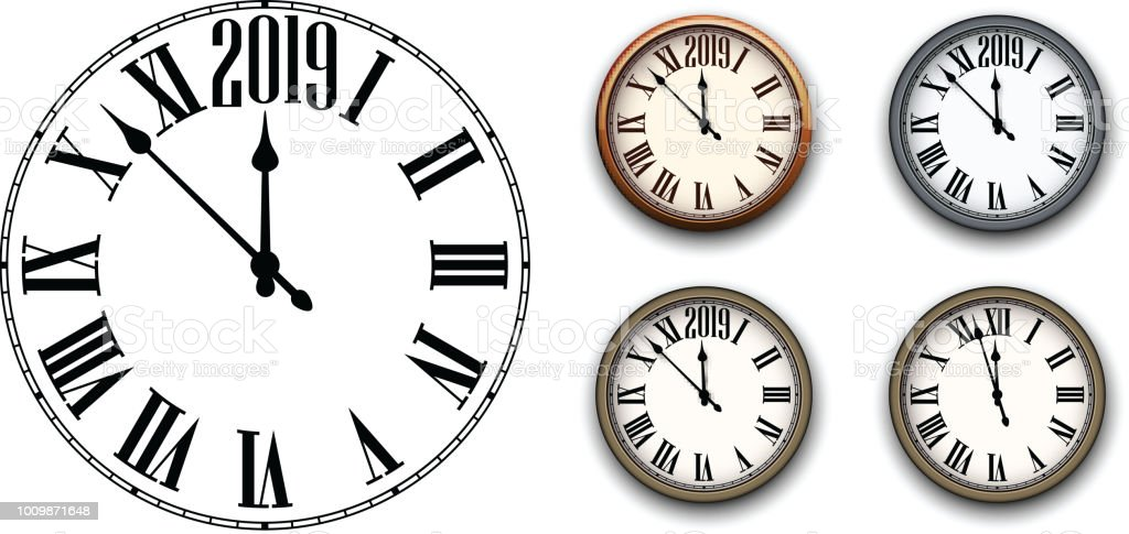 Round 2019 New Year Clock Isolated On White Stock Vector Art & More ...