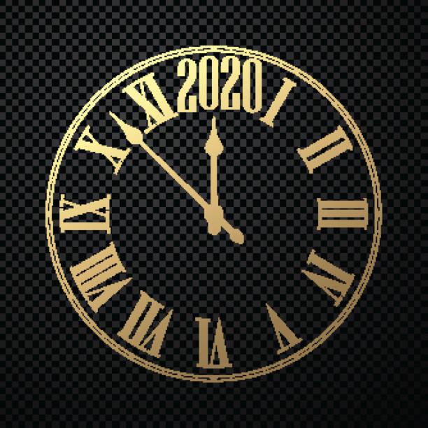 Runde 2020 Neujahrsuhr auf schwarz kariertem Hintergrund. – Vektorgrafik