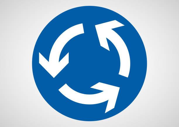 illustrations, cliparts, dessins animés et icônes de alentour de panneau de signalisation - rond point