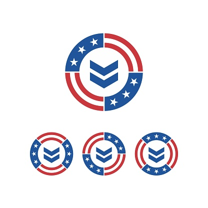 Round American Flag Ribbon with Military Ranks Design inspiration