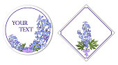 Round and square cards with a bouquet of flowers delphinium.