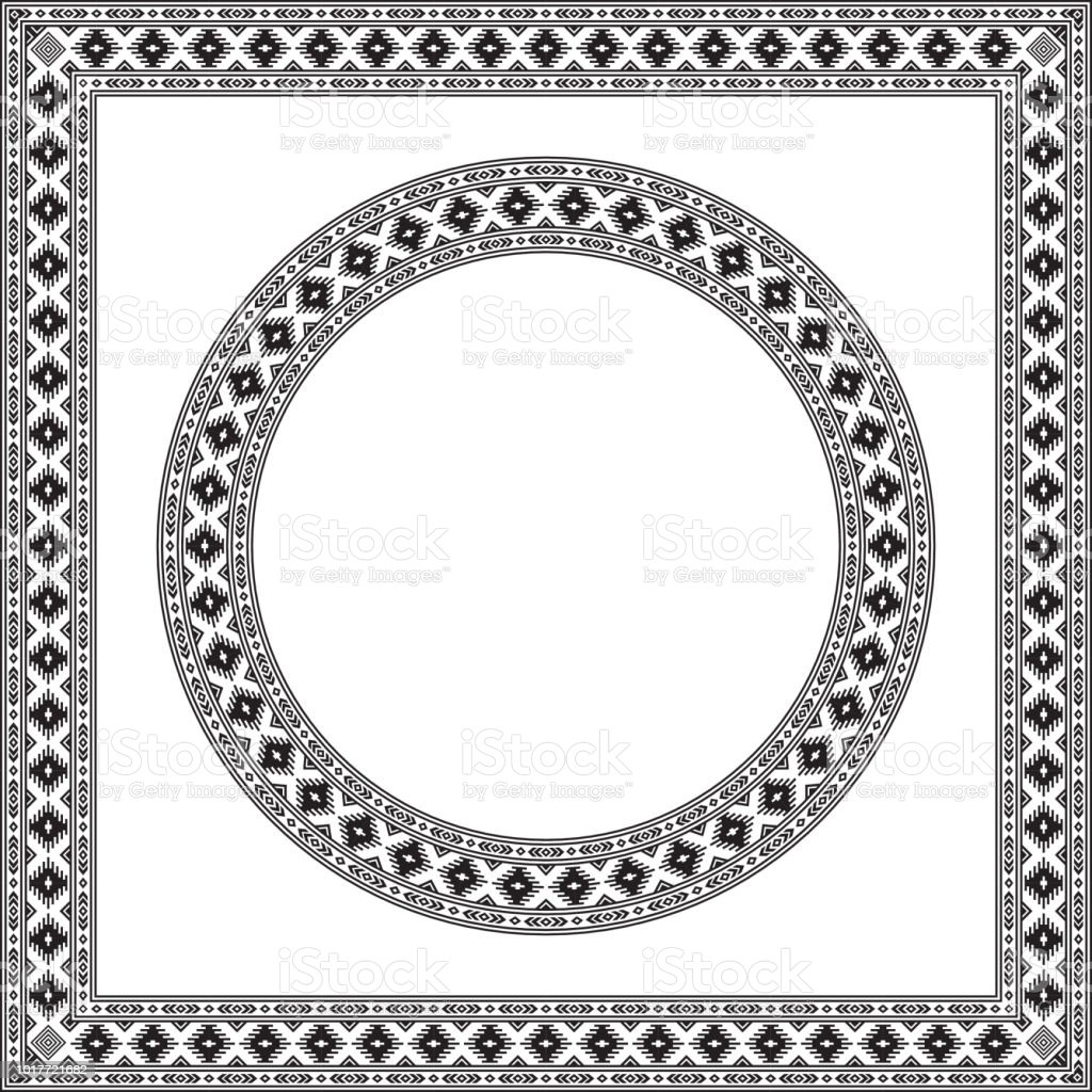 Round And Square Ethnic Geometric Frames Black And White Colors ...