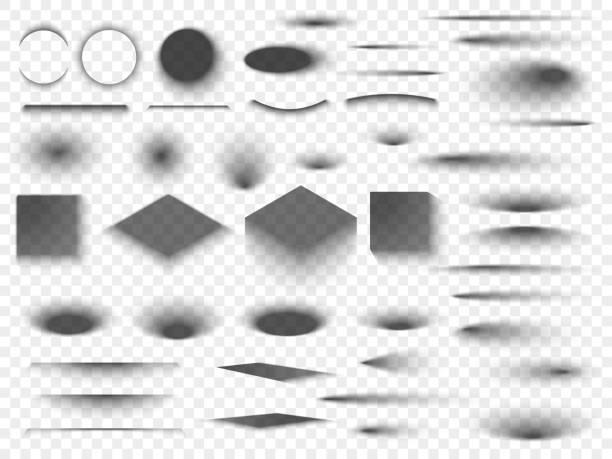 bildbanksillustrationer, clip art samt tecknat material och ikoner med runda och fyrkantiga isolerade golvet genomskinliga skuggor. mörka ovala skugga och cirkel nyanser vektor - skuggig