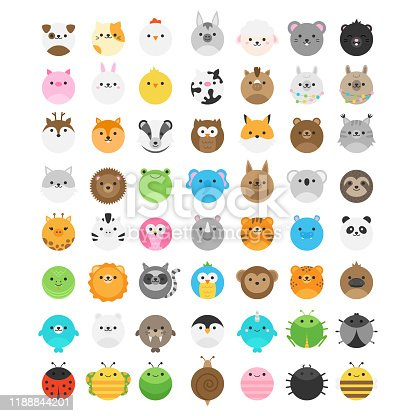 Big set of cute animal vector icons, isolated. Random wild, savannah, jungle, zoo, farm, domestic, forest, garden animals and insect illustrations.