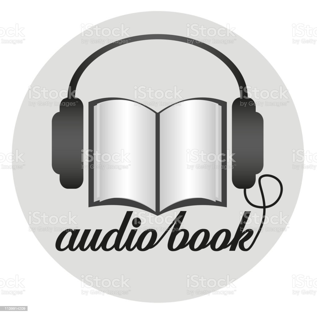 round audiobook icon with earphones and paper book vector illustration