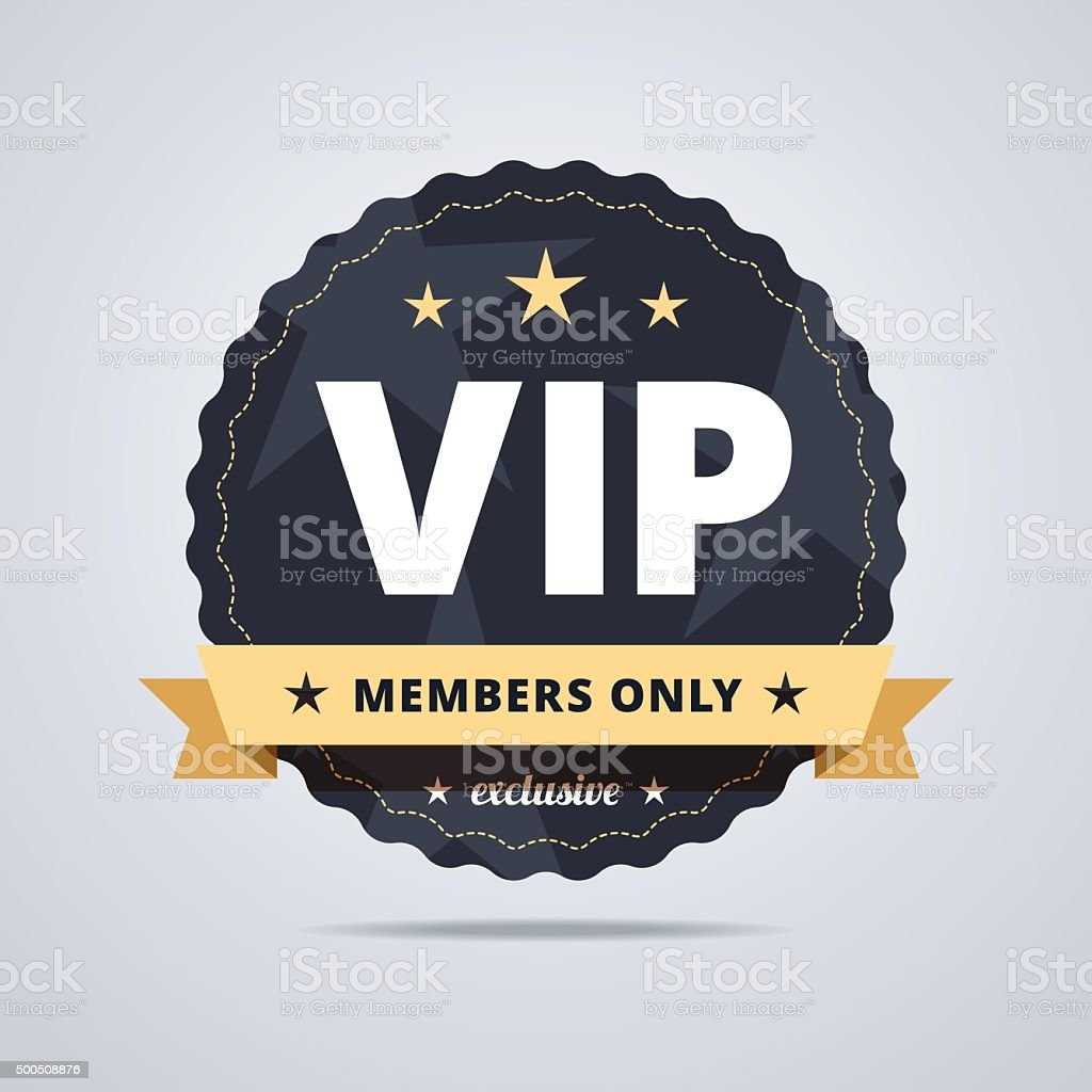 Round badge for VIP club members. vector art illustration