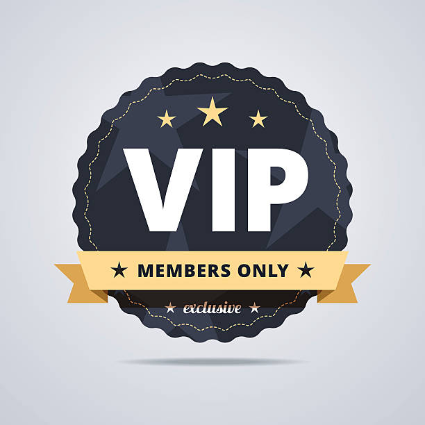 Round badge for VIP club members. Round badge for VIP club members. Dark blue medal with a star shapes and decorative ribbon. Vector illustration. organized group stock illustrations