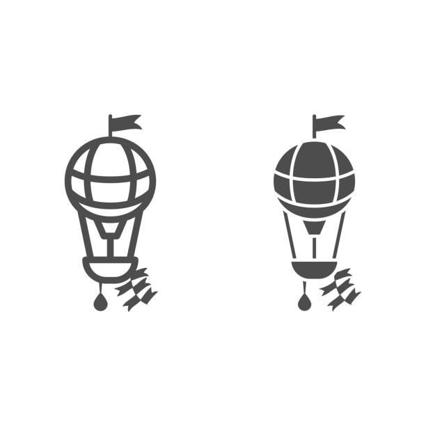 круглый воздушный шар с корзиной и флагом линии и твердые значок, воздушные шары фестиваль концепции, воздушный транспорт для путешествия � - hot air balloon stock illustrations