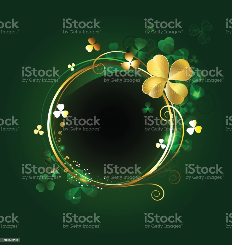 round banner with clover vector art illustration