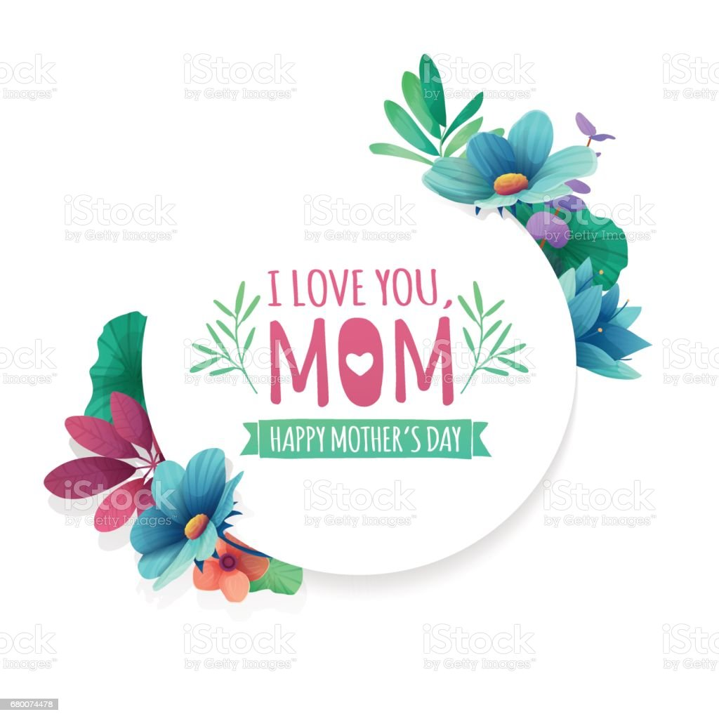 Round Banner With I Love You Mom Card For Happy Mothers Day Holiday ...